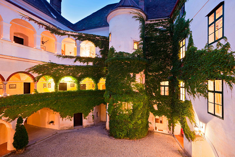 The ivy clad tower and courtyard are a spectacular setting for wedding groups.