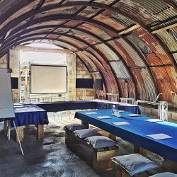 The Hut at Devon Farmhouse can be hired for extra space for a really unusual meeting space or get together area