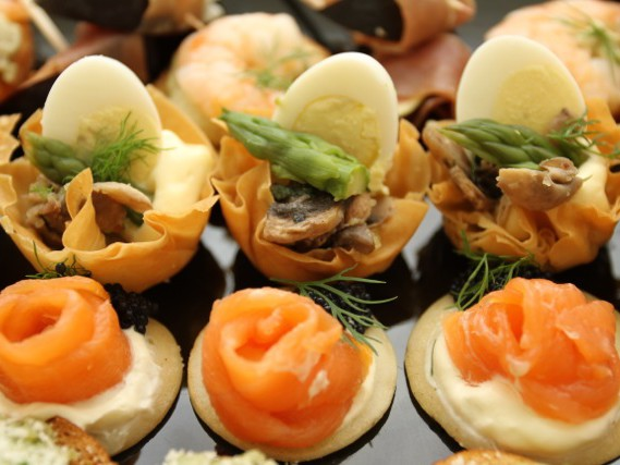 Unusual canapes as part of a dinner party celebration arranged by The Big House Company
