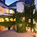 The inner courtyard and ivy covered tower are a romantic wedding setting.