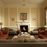 The comfortable sofas and cosy log fire make this a very inviting space to enjoy a house party with friends and family