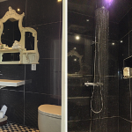 Glamorous en-suite shower room at Devon Farmhouse sleeping 16 and available to rent through The Big House Company