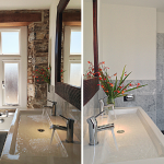 The stylish en-suite bathroom to bedroom 1 at Devon Farmhouse available to rent through The Big House Company