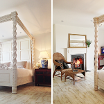 A cosy bedroom, roaring log fire and romantic 4 poster bed at Devon Farmhouse in south Devon, perfect for a weekend away