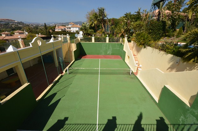 The all weather tennis court at Marbella Villa