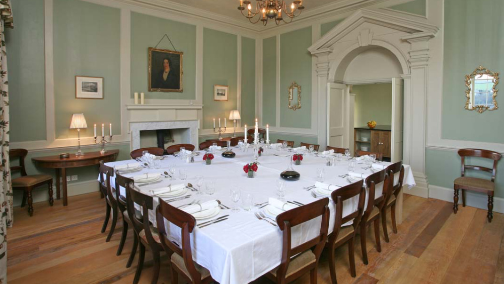 Berry House in North Devon has a delightful dining room for friends to enjoy good times together