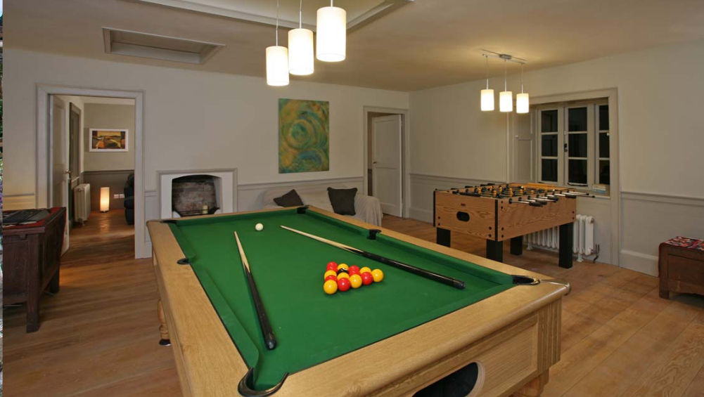 Games of pool and table football are part of the entertainment for guests at Berry House, North Devon