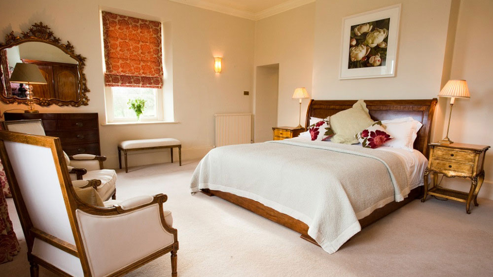 The bedrooms at Somerset Manor are spacious and comfortable for a memorable big house experience in Somerset
