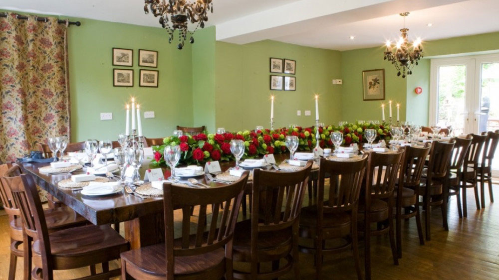 The dining room at Widcombe Grange is a large party space for celebration dinners, weddings and corporate retreats