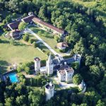 Aerial view of the French Castle, available to rent through The Big House Company
