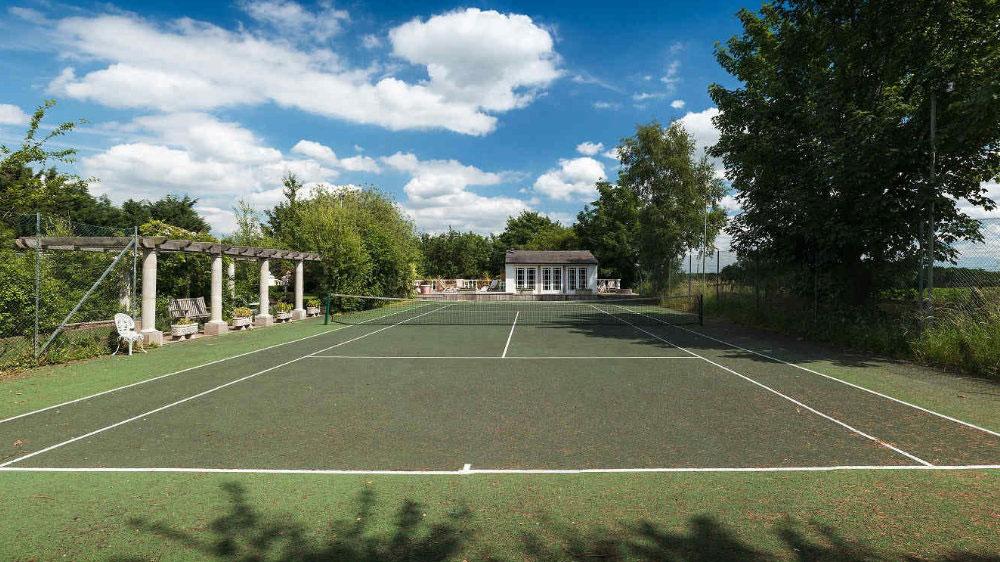 The tennis court at Midlands Villa, near Birmingham.