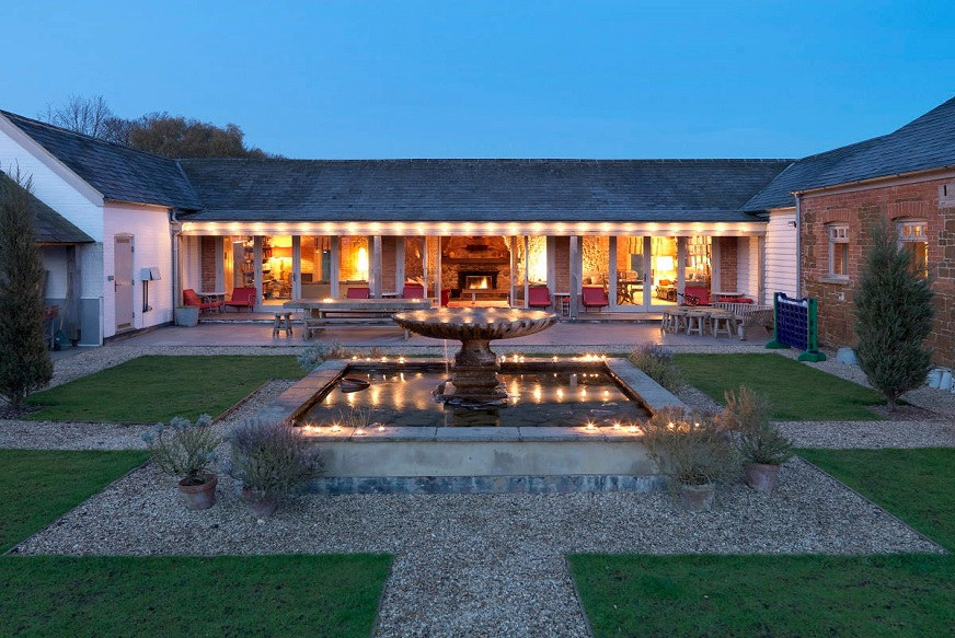 Delightful courtyard area with an attractive fountain at Cliff Barns, available through the Big House Company