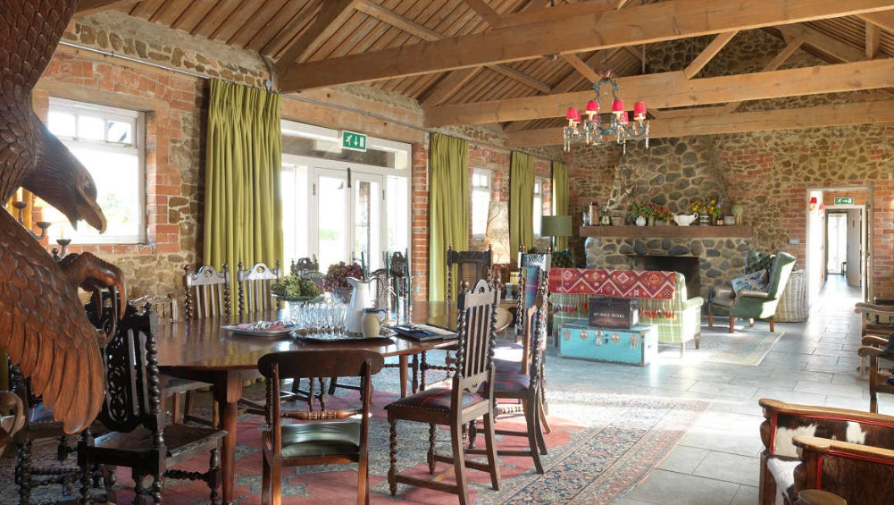 The open plan living area at Cliff Barns are ideal for a large party of friends or family to enjoy a stay in Norfolk