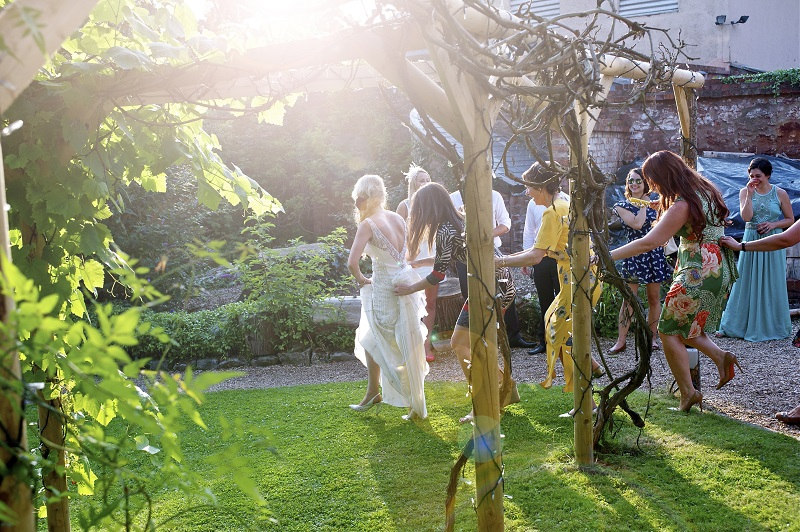 Guests having fun at a wedding at Tone Dale House in Somerset.