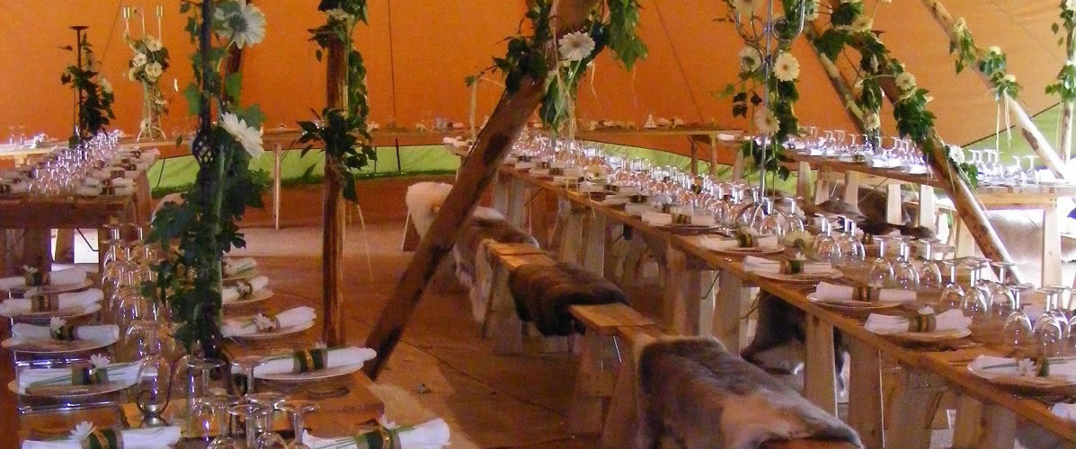 Teepee tables at Widcombe Grange for a wedding for up to 150 guests in Somerset
