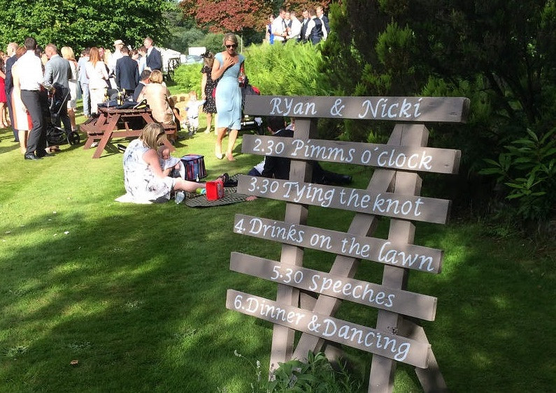 Wedding couples can have a unique wedding day at Widcombe Grange with custom made signs, entertainment and glamping villages.