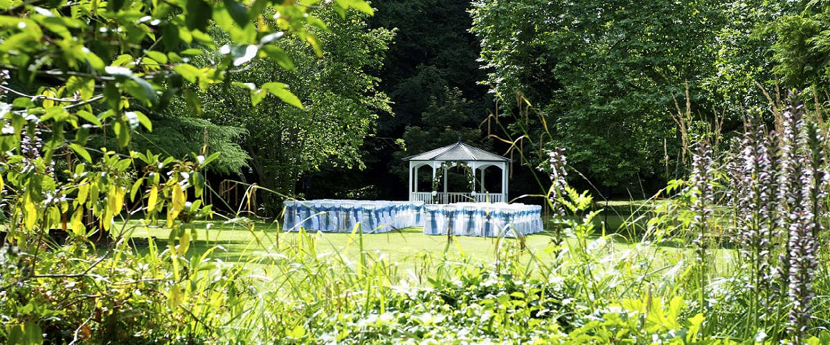 The gazebo at Tone Dale House is licensed for weddings and is nestled beside the ancient plane tree in the garden.