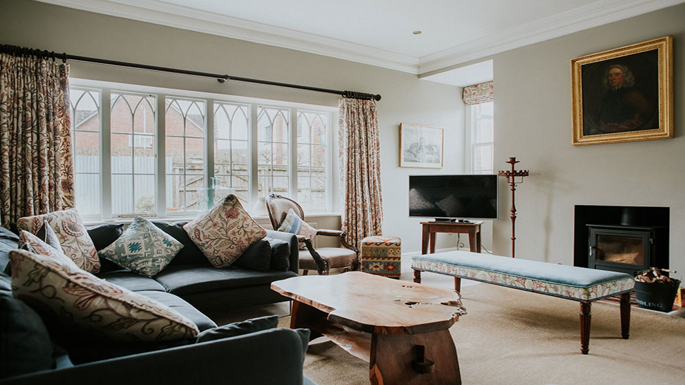 Our big house in Dorset has a cosy sitting room and open fire