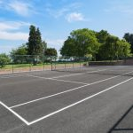 The tennis court at Tatham House is close to the walled garden, hot tub and indoor pool