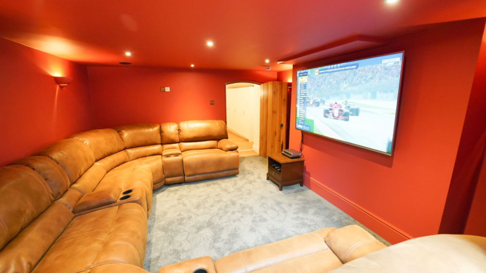 The lower ground floor at Tatham House has a cinema room, pool table & table tennis