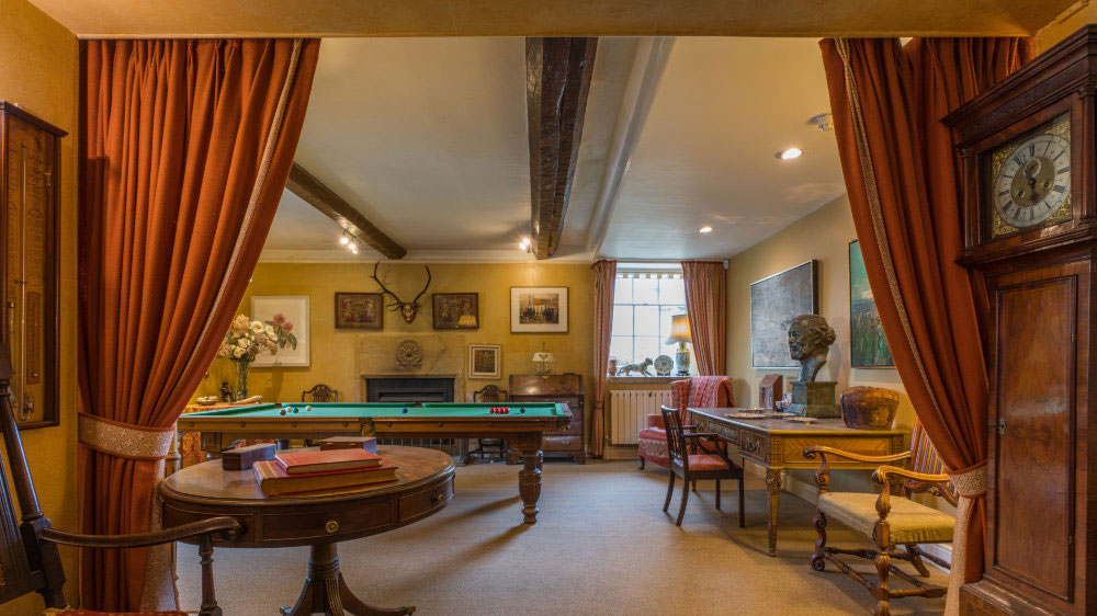 The entertainment zone with a large snooker table