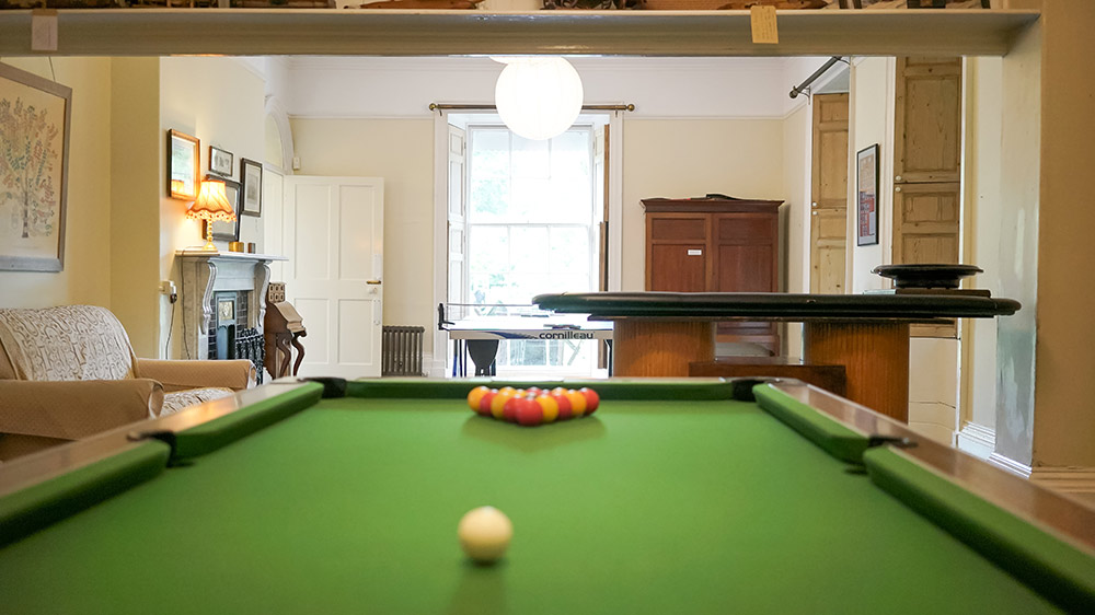 The large games room has pool, table tennis and roulette