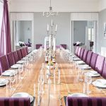 The dining room is large enough for a big celebration, candlelit birthday dinner.