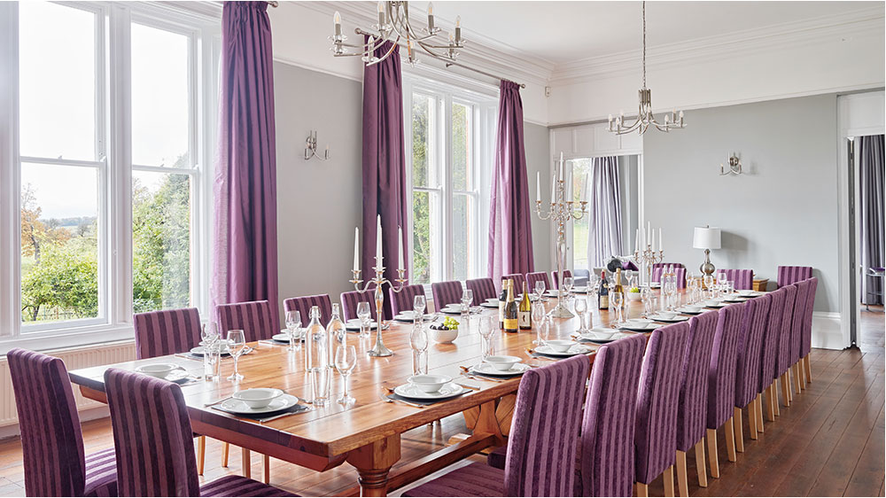 The dining room at this big house can seat 24 guests for a delicious celebration dinner.