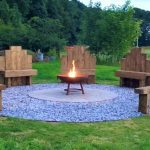 Our groups love to sit around the fire pit on the bespoke garden chairs.